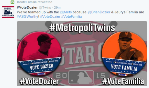 The Mets and the Twins have teamed up in an attempt to get both Familia and Brian Dozier on the All-Star team